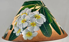 White Plumeria Golden Background 18 Inch Tall Shade