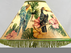 Tropical Birds Green Fringe 18 Inch Tall Shade