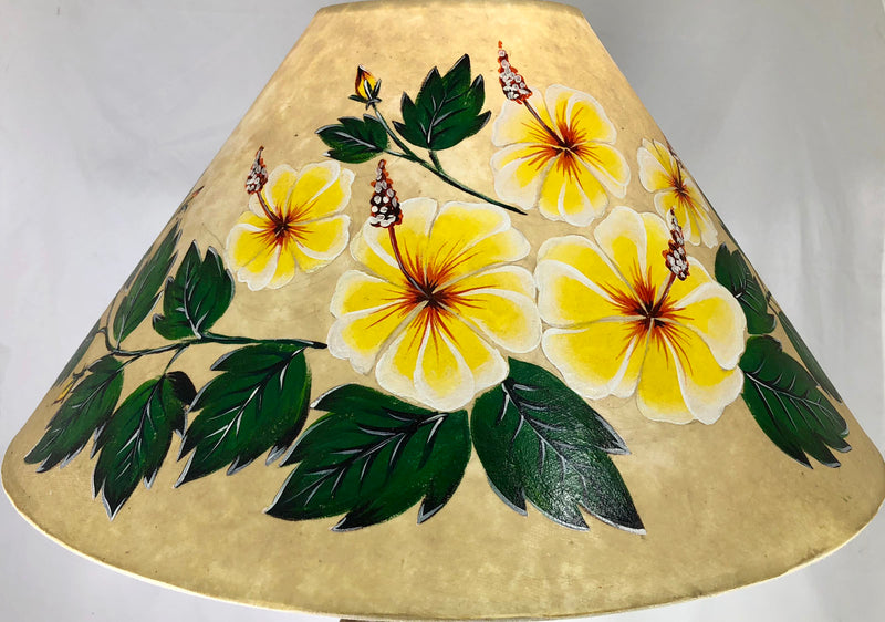 20 Inch Shade (5.5 x 12 x 20) SKU 20S-003 Yellow Hibiscus