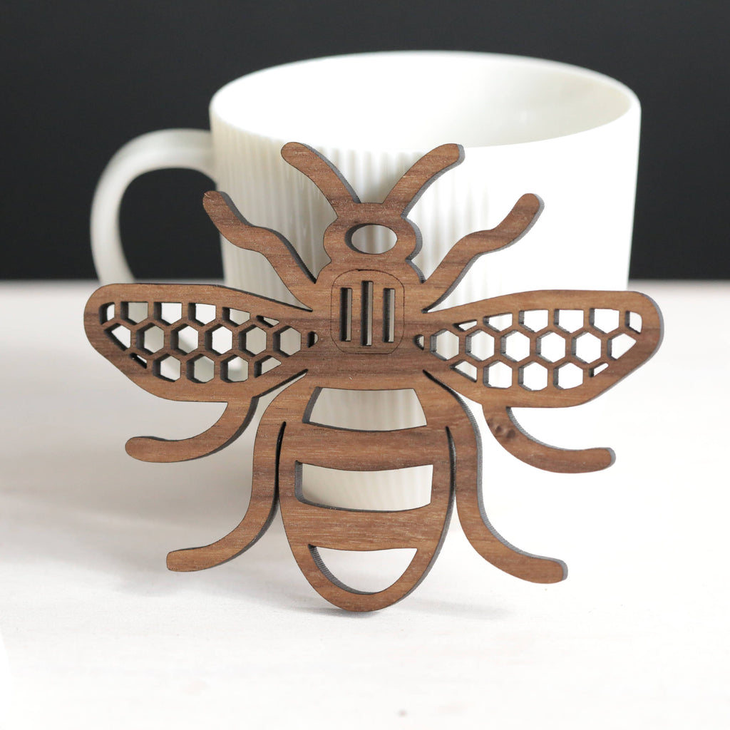Manchester Bee - real wood coaster - Mancunian - personalised gift