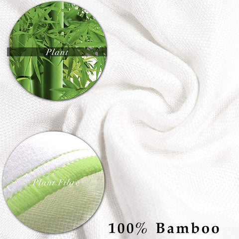 image of bamboo towels with close up bamboo fibres