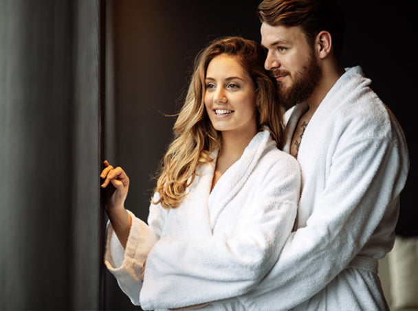 couple wearing luxurious comfy bath robes