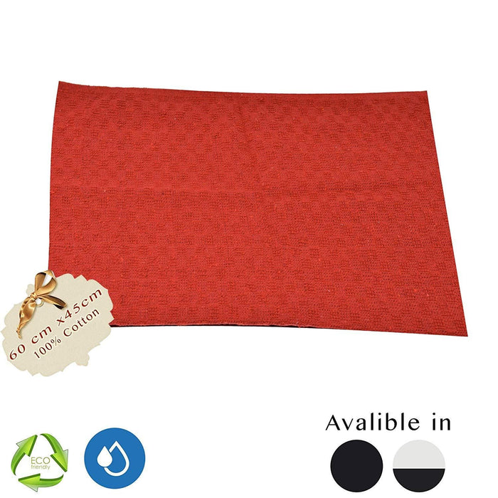 Organic Cotton Terry Tea Jumbo Drying Cloth Red Towels 60x45cm - Towelogy