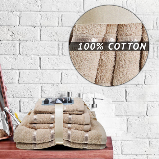 500GSM 8 Piece Luxury 100% Egyptian Cotton Bath Towels Set Ultra Absorbent Mocha Brown - Towelogy