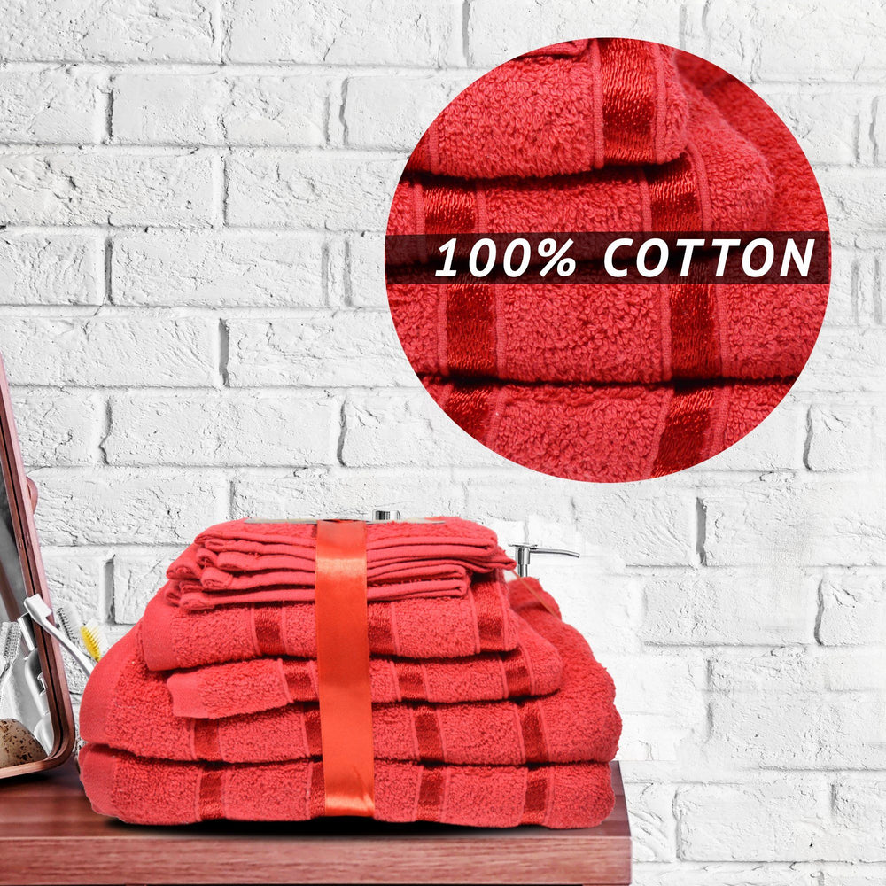 500GSM 8 Piece Luxury 100% Egyptian Cotton Bath Towels Set Ultra Absorbent Red - Towelogy