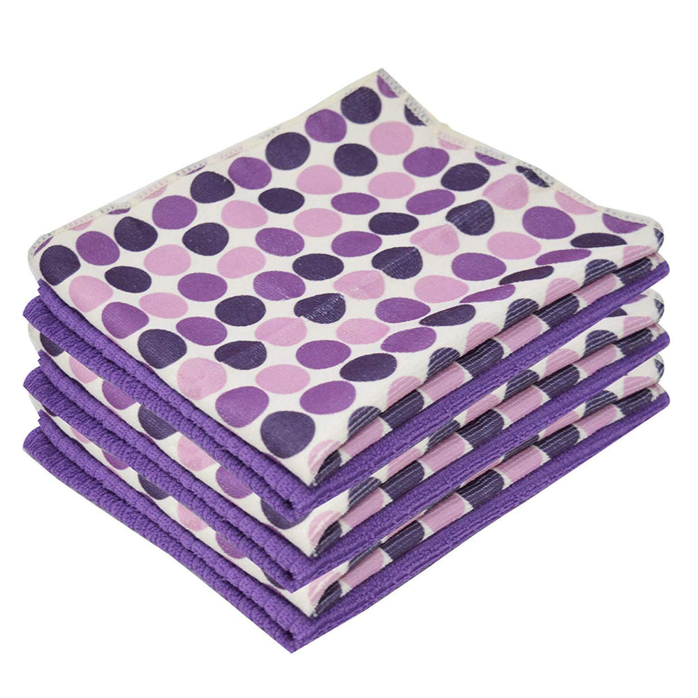 Microfibre Kitchen Purple Patterned Tea Towels Printed Polka Dot 40x47cm - Towelogy