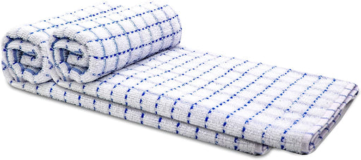 Blue Kitchen Tea Towels Checked Egyptian Cotton Terry Towels - Towelogy