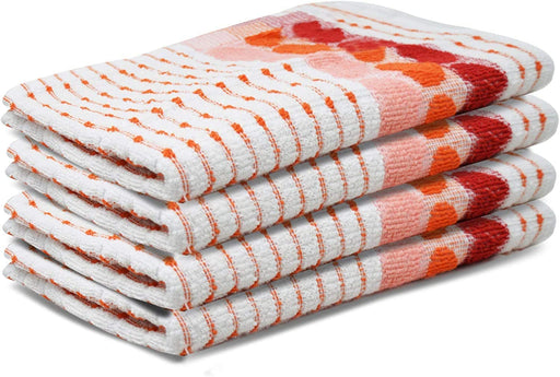 Orange Kitchen Towels Multi-Purpose Heart Tea Towels Durable Quality - Towelogy