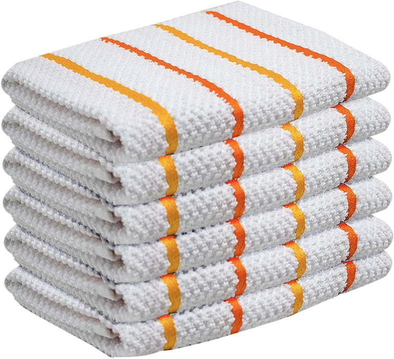 Orange White Cotton Kitchen Tea Towels Dobbby Weave Towels - Towelogy