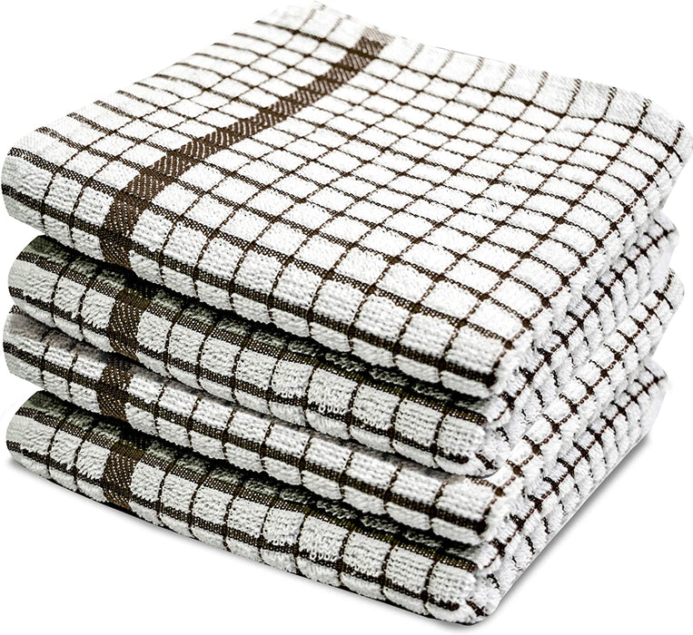 Brown Kitchen Tea Towels with Soft Classic Check Pattern - Towelogy