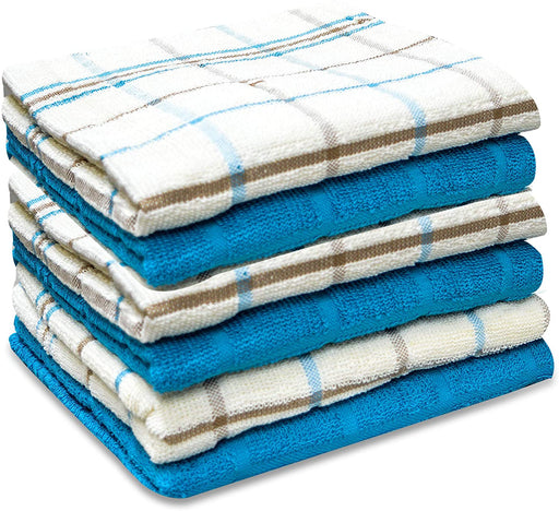 Aqua Blue Kitchen Tea Towels Jumbo Checks Soft and Durable - Towelogy