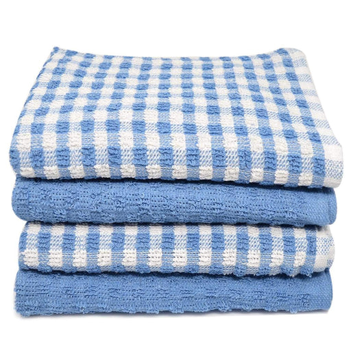 Organic Cotton Terry Tea Jumbo Drying Cloth Blue Towels 60x45cm - Towelogy