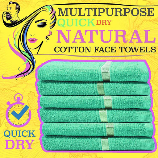quick dry cotton  aqua face towels - towelogy