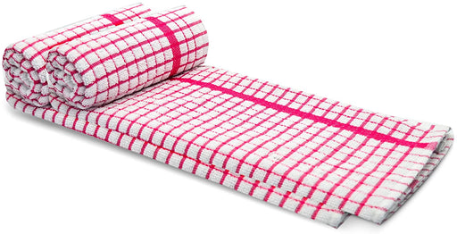 Pink White Cotton Kitchen Terry Tea Towels Super Absorbent - Towelogy
