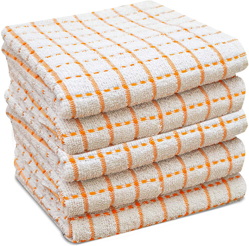 Orange Kitchen Tea Towels Checked Egyptian Cotton Terry Towels - Towelogy