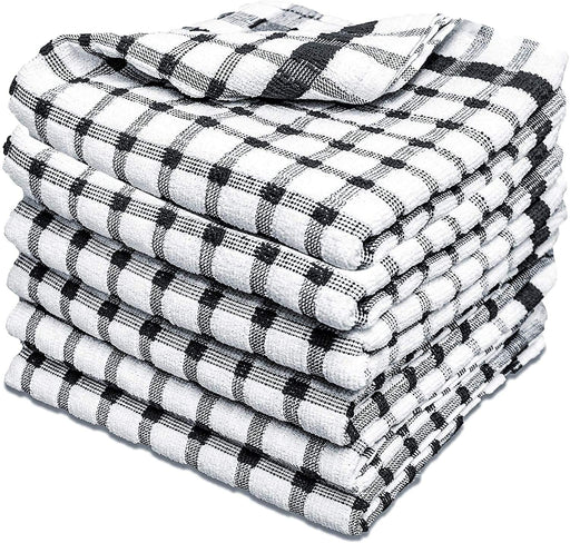 Black Kitchen Tea Towels Cotton Reusable Durable Checkered Towels - Towelogy