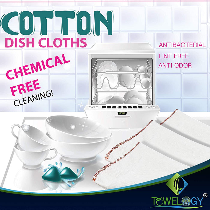 Cotton Dish Cloths White Kitchen Towels Cleaning Cloths Red - Towelogy