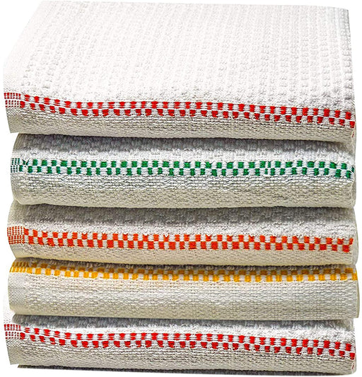 Cotton Tea Towels Dobby Weave White Multi Coloured Kitchen Towels - Towelogy