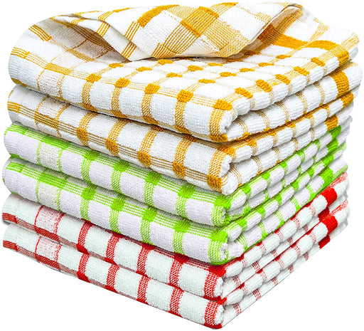 Checkered Cotton Terry Tea Towels Black Yellow Kitchen Dish Drying Cloths - Towelogy