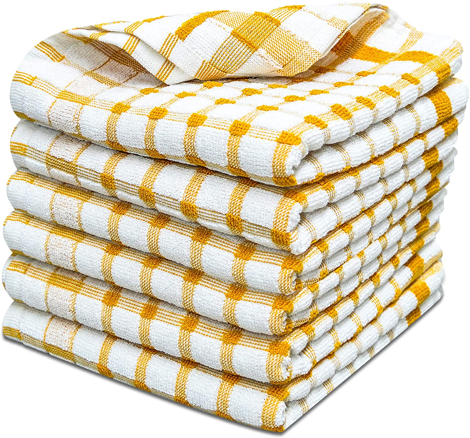 Yellow Kitchen Tea Towels Cotton Reusable Durable Checkered Towels - Towelogy