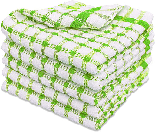 Green Kitchen Towels Checkered Tea Towels Bright & Durable - Towelogy