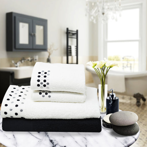 Embroidered Egyptian Cotton Bathroom Towel Sets of 4 Pieces Black - Towelogy