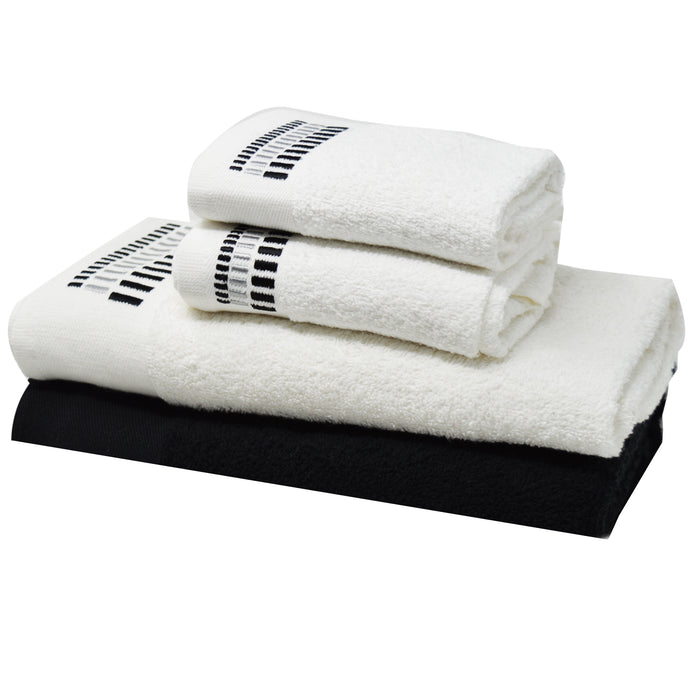 Embroidered Egyptian Cotton Bathroom Towel Sets of 4 Pieces Black Mosaic - Towelogy