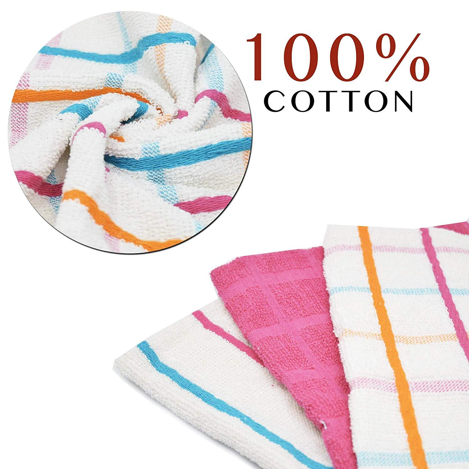 Pink and White Kitchen Dusting Cloths Egyptian Cotton Checkered Style - Towelogy
