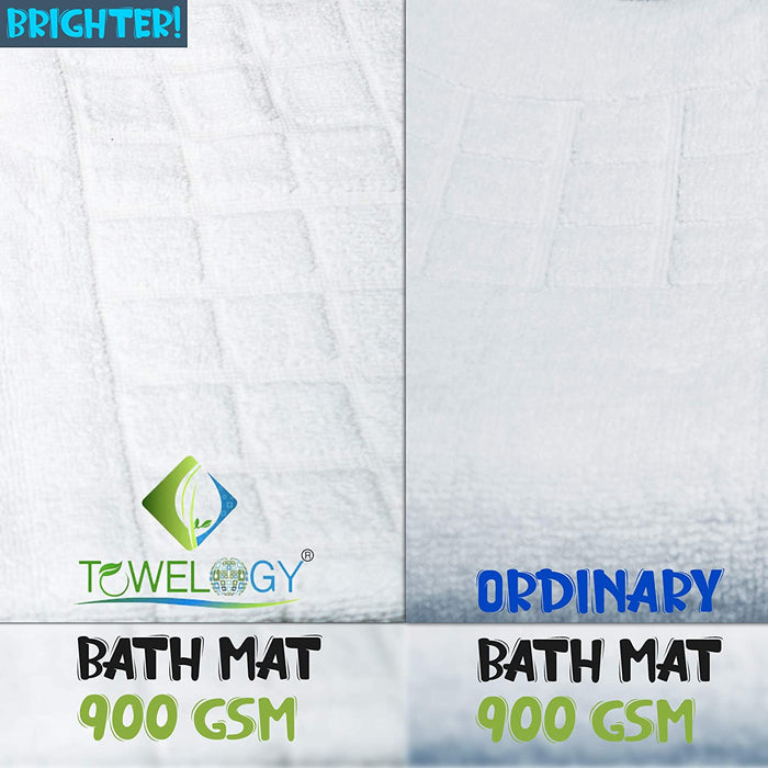 Bathroom Mats Checkerboard White Heavy Duty Cotton Floor Mats - Towelogy