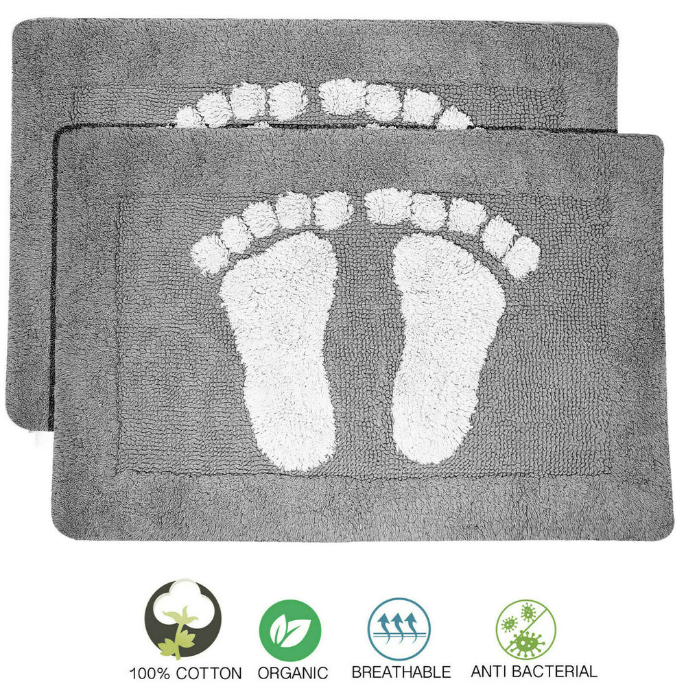 Cotton Bath Mats 2000gsm Non Slip Bathroom Rug with Feet - Towelogy