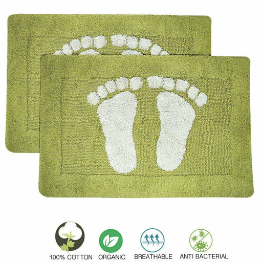Cotton Bath Mats 2000gsm Non Slip Bathroom Rug with Feet Lime - Towelogy