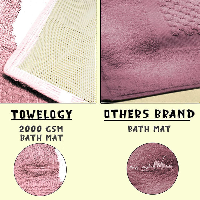 Cotton Bath Mats 2000gsm Non Slip Bathroom Rug with Feet Pink - Towelogy