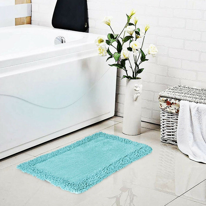 Cotton Bath Mats Noodle Bordered Bathroom Floor Rugs - Towelogy