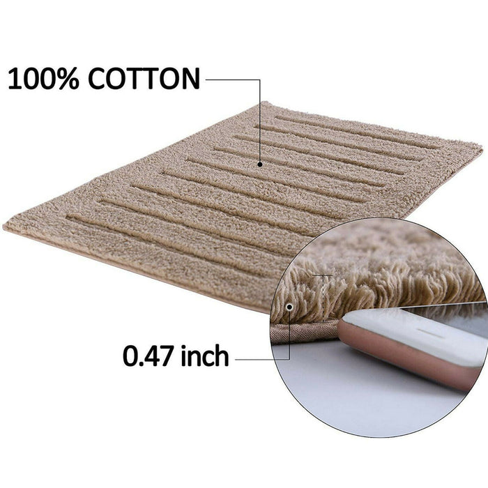 Cotton Bath Mats Ridge Bordered Bathroom Floor Rugs - Towelogy