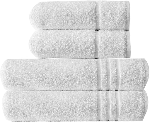 4pc Bathroom Towels Sets Jumbo Hand Bath Sheets Hotel Quality White - Towelogy