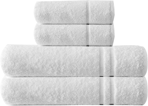 Bathroom Bale Set Terry Cotton White Extra Large Hand Bath Towels 4pc - Towelogy