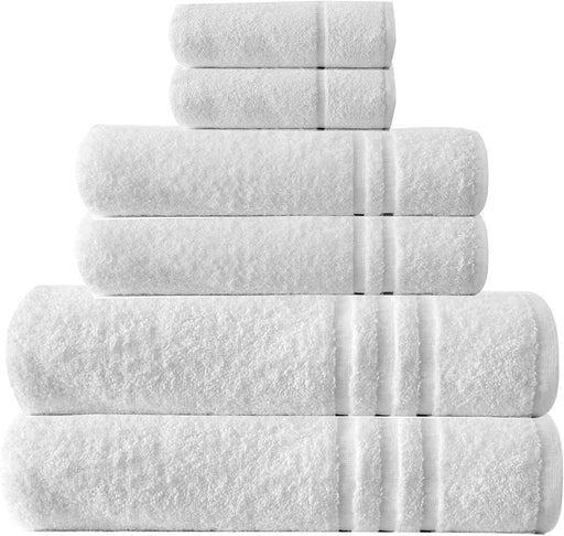 Bathroom Bale Set Terry Cotton White Extra Large Hand Bath Towels 6pc - Towelogy