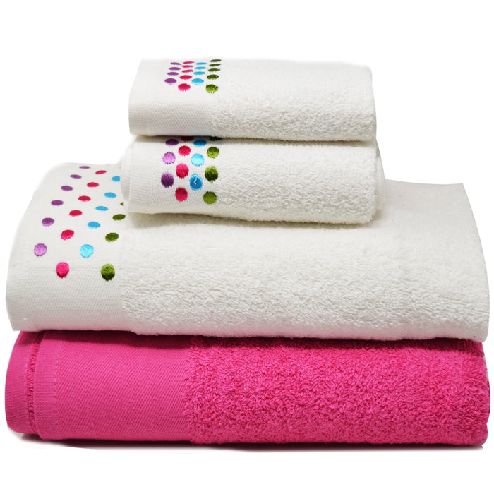 Embroidered Egyptian Cotton Bathroom Towel Sets of 4 Pieces Brights - Towelogy