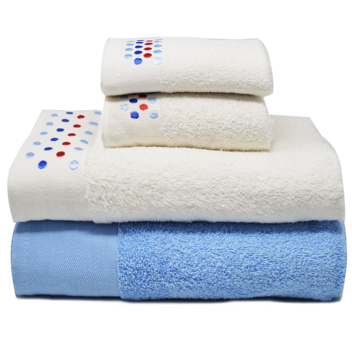 Embroidered Egyptian Cotton Bathroom Towel Sets of 4 Pieces Light Blue - Towelogy