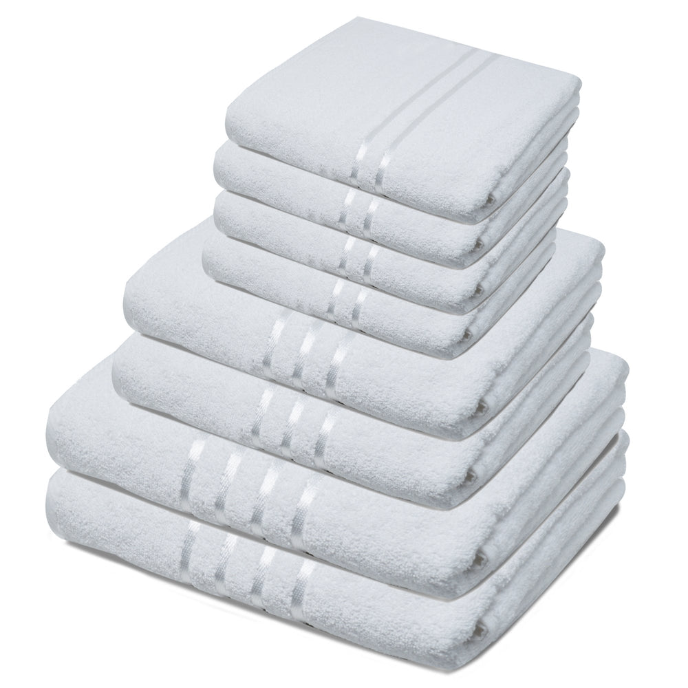 Luxury Egyptian Cotton Bathroom Towel Sets of 8 Piece Pure White - Towelogy