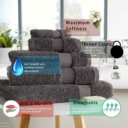 700gsm Luxe Bath Towels Thick Plush Cotton Bale Sets Grey White Silver Towelogy® - Towelogy