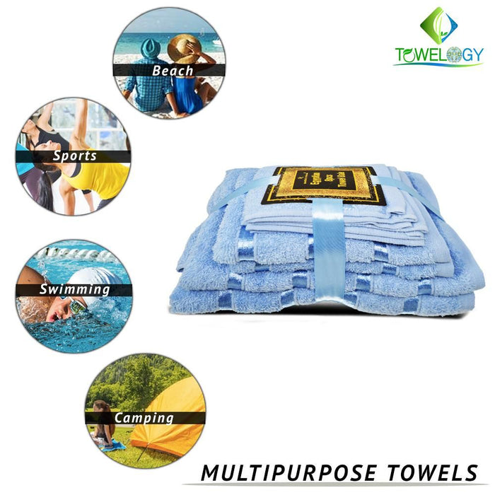 500GSM 8 Piece Luxury 100% Egyptian Cotton Bath Towels Set Ultra Absorbent Aqua - Towelogy