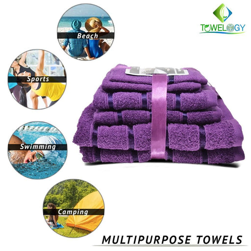 500GSM 8 Piece Luxury 100% Egyptian Cotton Bath Towels Set Ultra Absorbent Purple - Towelogy