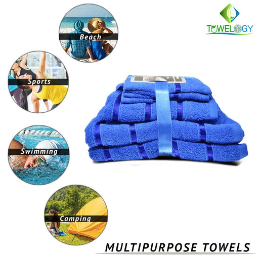 500GSM 8 Piece Luxury 100% Egyptian Cotton Bath Towels Set Absorbent Royal Blue - Towelogy