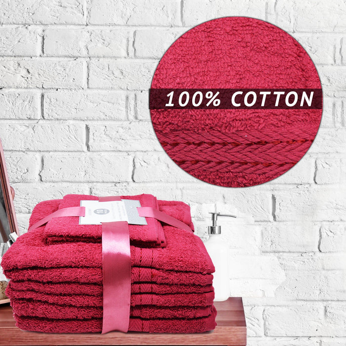 Luxury Soft 10 Piece Towel Bale Sets Egyptian Cotton Red Bath Set - Towelogy