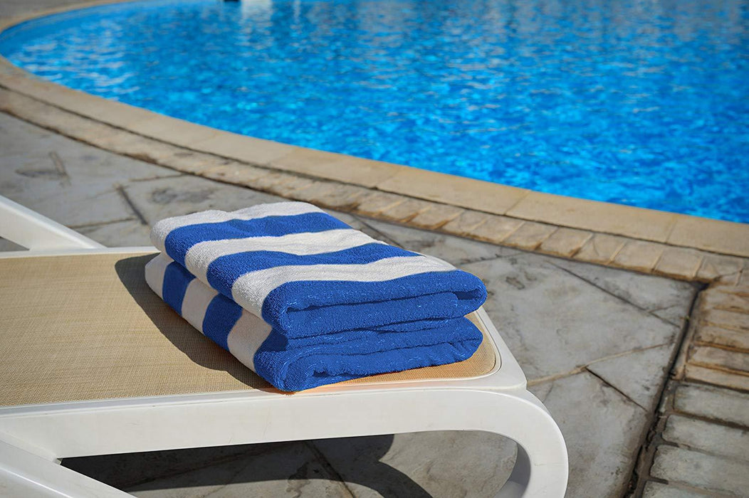 Beach Towel Cabana Stripe 100% Cotton Extra Large Blue (89 x 178cm) - Towelogy