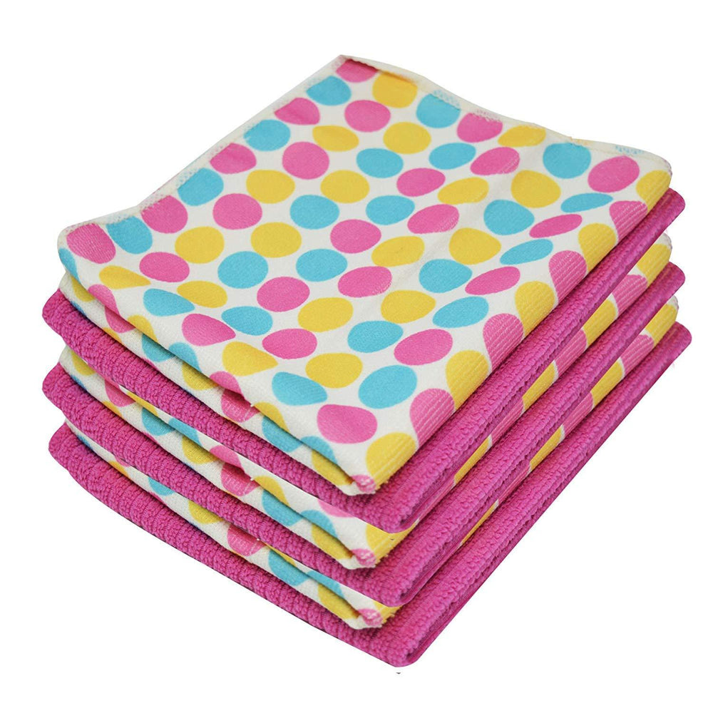 Microfibre Patterned Polka Dot Pink Print Kitchen Tea Towels 40x47cm - Towelogy