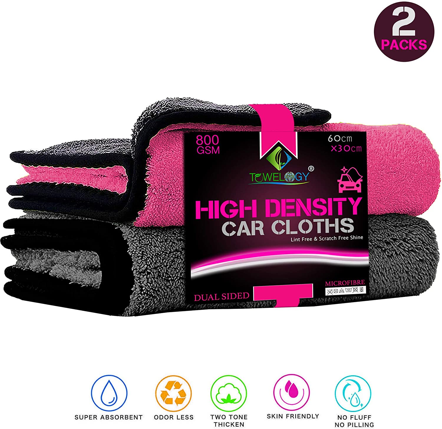 Microfibre Car Drying Cloths Quick Dry High-Density Car Towels Grey Pink - Towelogy