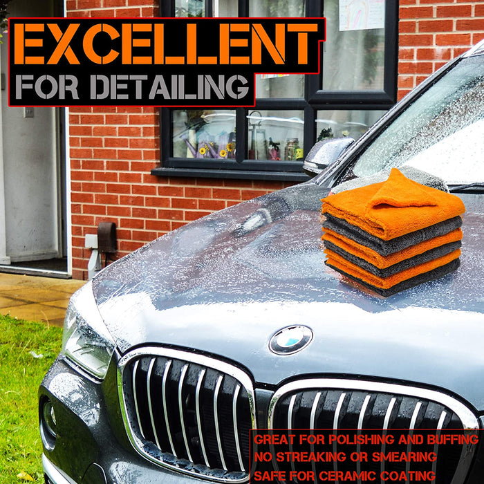Microfibre Edgeless Car Cleaning Drying Cloth Quick Dry Plush Fiery Orange - Towelogy