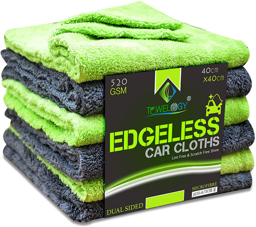 Microfibre Edgeless Car Cleaning Drying Cloth Quick Dry Plush Lime - Towelogy